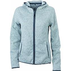 James & Nicholson - Forro polar de punto con capucha para mujer, gris, Large