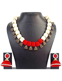 Party Wear Cream & Red Color Silk Thread Bails Necklace And Earrings Set For Women New Model