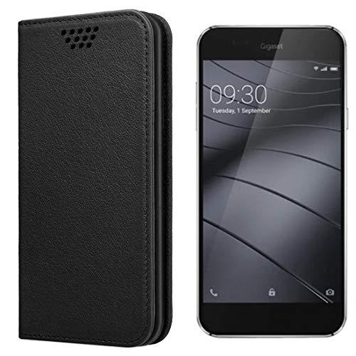 UltraProtection Schutztasche für Gigaset ME Pure Tasche, Schutz-Hülle, Handytasche, Wallet Cover Case, Handy Etui in Schwarz