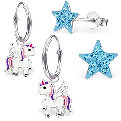 ne Einhorn Creolen + Ohrstecker 925 Echt Silber Mädchen Baby Kinder Ohrringe Ohrhänger Stern Krone Eule Pegasus (mit Blau Stern) ()