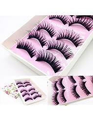 Malloom 5 Pairs Fashion Natural Handmade False Black Eyelashes - Makeup (Black)