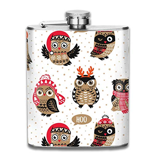 FGRYGF Cute Owls in Knitted Hats, Scarves and Reindeer Antlers Edelstahlflasche Classic 7OZ Flachmann Pocket Flagon Whiskey Wine Flagon Mug (Owl Männer Hat)