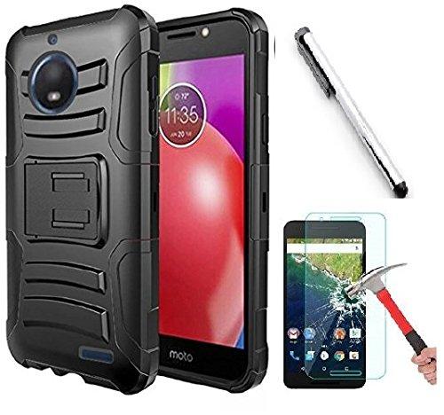 Motorola Moto E4Plus (14cm 2017Release) Fall, luckiefind Dual Layer Hybrid Seite Ständer Cover Schutzhülle mit Holster Clip mit Stylus Pen Zubehör, Holster Black Motorola Cell Phone Faceplates