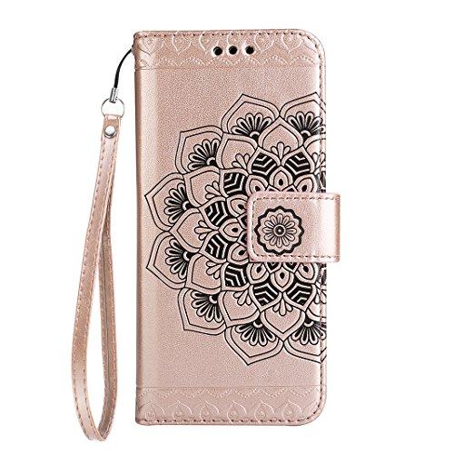 Schutzhülle Galaxy S5 Neo, Galaxy S5 Hülle Rosa Schleife PU Ledertasche Flip Wallet Book Cases Cover Mandala Muster Handytasche für Samsung Galaxy S5 mit Magnetischer Verschluss Stand Funktion