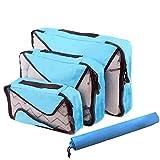 Ting-Times Packing 3 Set Sistema di cubi di imballaggio per Gli organizzatori di Bagagli da Viaggio con Borsa per Il bucato (Stile 1, Cielo blu0