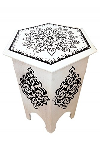 Marokkanischer Beistelltisch Hocker Tisch Shalin - Weiss -