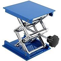 100 x 100mm Azul Electrochapado Aluminio Plataforma Elevadora para Laboratorio Soporte Tijera Jack Levantador