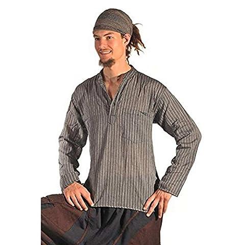 Fischerhemd Hemd Pullover Shirt Freizeithemd Freizeitshirt Hippie Goa Psy Mittelalter Sweater Kurta Color Schwarz, Size (Nepal Herren Hoodie)
