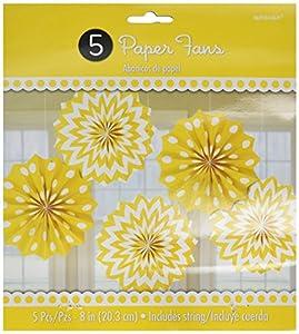 Amscan International-298901-0920cm Sunshine amarillo diseño de lunares y Chevron papel ventiladores