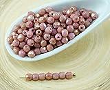 100er Valentine Pink Gold Luster Runde Facettierte feuerpoliert Tschechische Glas-Perlen Kleine Spacer 3mm