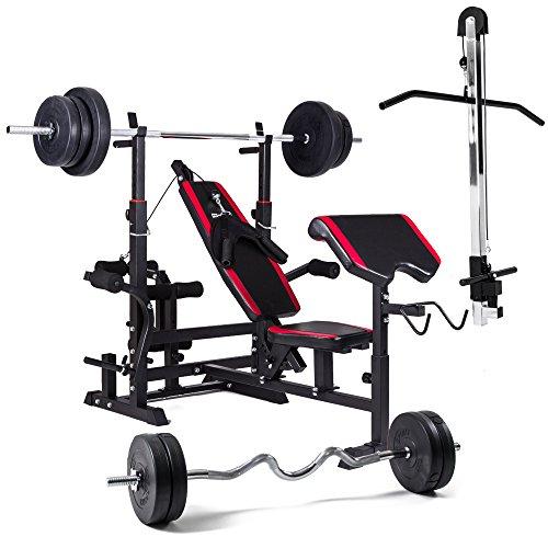 Hop-Sport Multifunktions Hantelbank 1075 mit Latzugturm, Gewichten 60kg bis 150kg und Lang- und Curlhantelstange (150kg Gewicht: Lang- & Curlstange)
