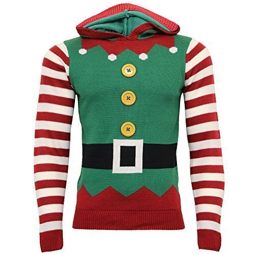 UOMO NATALE Maglione natalizio Seasons Greetings 3D GADGET Elfo STAMPA FELPA PULLOVER - Verde - 1a10237, Large