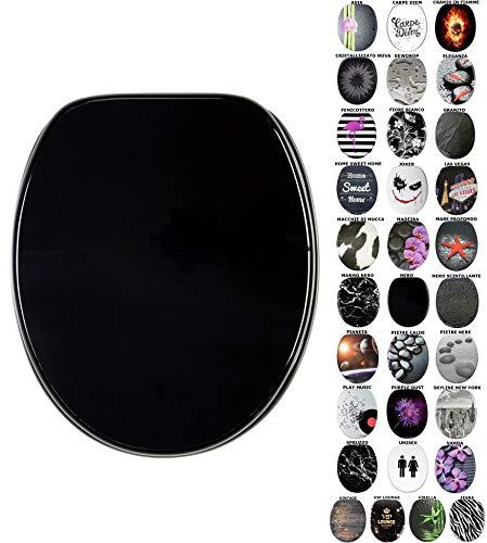 Sedile WC con chiusura ammortizzata, grande scelta di sedili WC neri da legno robusto e di alta qualità (Nero)