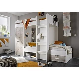 Avanti Trendstore - Hochbett - weiß/Sandeiche Dekor