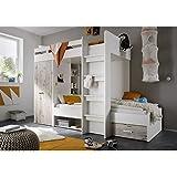 hochbett kinderbett kombi schreibtisch schrank eiche milchig gr n. Black Bedroom Furniture Sets. Home Design Ideas