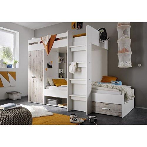 Avanti trendstore - moritz - letto a castello in laminato di quercia sabbia/bianco con armadio integrato. dimensioni: lap 270x180x117 cm