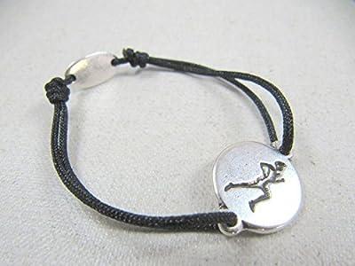 """Bracelet cordon tréssé """"Coureur"""" 16mm finition argent 925"""