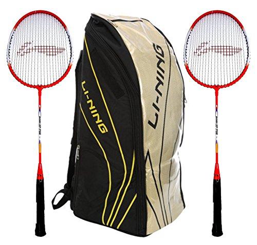 Li-Ning Badminton Racquet+Kitbag Combo (ABSJ402 Badminton Kitbag, Black + Set of 2 Smash XP 809 Badminton Racquets)