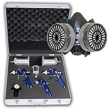 TecTake 400611- Juego de 3 pistolas de pulverización HVLP (0,8 + 1,3 + 1,7 mm) con maletín y máscara incluídos