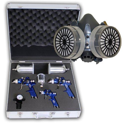 TecTake 3x Pistolas de pintar pulverizadora pintura HVLP 1,7 1,3 0,8 mm + maletín conjunto + máscara profesional