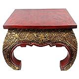 Opiumtisch Beistelltisch Couchtisch 50 x 50cm Thailand Tisch Holz Rot Antik