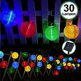 Lanterne Solaire Exterieur LED Jardin, Bawoo 30 LEDs Guirlande Lumineuse Lanternes Décoration Couleur Rechargeable Automatique Etanche 6 Mètres Pour Jardin Chambre Intérieur