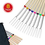 Lysport BBQ Marshmallow Roasting Stick Set of 8 Telescoping Extendable Rotating Smores Skewers & Hot Dog Fork 32-inch Kids Camping Campfire Fire Pit Accessories, 8-Piece