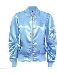Women Ladies Satin MA1 Bomber Jacket Vintage Summer Coat Flight Army Biker Retro [Light Blue, S]