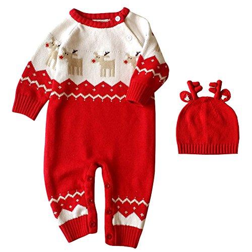Brightup Baby Mädchen Jungen Weihnachten Gestrickte Pullover Spielanzug Bodysuit Overall mit Hut (Outfits Für Kleinkinder Rentier)