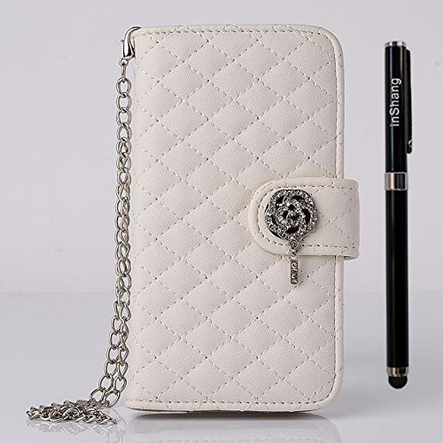 "inShang iPhone 6 Plus iPhone 6S Plus Coque 5.5"" Housse de Protection Etui pour Apple iPhone 6+ iPhone 6S+ 5.5 Inch, Coque Avec Elégant Boucle + Pochette + GRID PATTERN + HAND STRAP, Cuir PU de premier handstrap bag white"