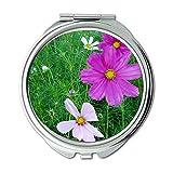 Yanteng Machte Desktop Frische Weiße Rosa Blumen Natur Brieftasche Spiegel, Schminkspiegel,...