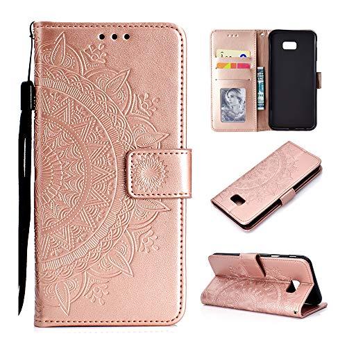 Abuenora Funda para Samsung Galaxy J4 Plus, Galaxy J4+ 2018 Carcasa Libro con Tapa Flip Case Antigolpes Cartera Billetera PU Cuero Polipiel Suave - Mandala Rosa Oro