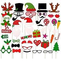 Dsaren Navidad Photo Booth Props, 50 Piezas Divertido Accesorios de Selfie DIY Bigote Sombrero Gafas