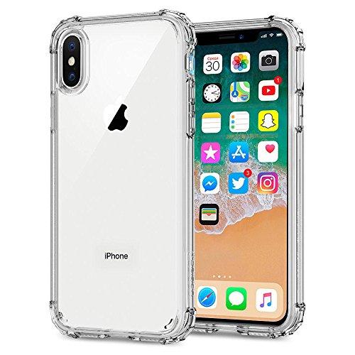 Cover iphone x , zonciny antiurto protezione soft gel custodia e angoli rinforzati per iphone x / iphone 10 uscito a 2017 [tpu,trasparente,1.4 mm]