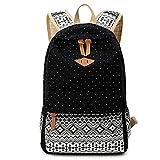 SAMGOO Mode Damen Ethnischen Stil Canvas Rucksack Vintage Mädchen College-Stil Leinwand Daypacks Teenager Outdoor Freizeit Camping Picknick Sports Schultasche (schwarz)