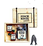 Fischkiste mit Lakritze oder Weingummis und Kräuterlikör Flüssigköder Holziste Kabelbinder für den Angel Profi Angler Seemann Köderfische (Lakritz- Köderfische + Flüssigköder 52101)