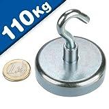 Aimant crochet magnétique Ø 60 mm Néodyme - Zingué - Force d'adhérence 110 kg - Aimants puissants en Néodyme (NdFeB) pour l'industrie et la maison