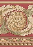 Schön Gold Grün auf Rot Modern Damask breit Tapete Bordüre Traditionelles Design, Rolle 15'x 22,9cm
