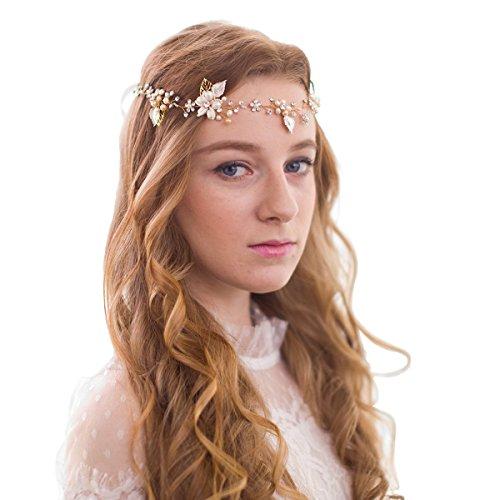 Vintage Perlen Strass Rebe Kopfstück Blume Blätter Haarbänder Haarschmuck Hochzeit