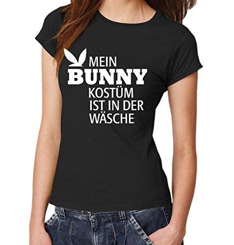 ::: MEIN BUNNYKOSTÜM IST IN DER WÄSCHE ::: Girls T-Shirt Ostern Schwarz mit weißem Aufdruck