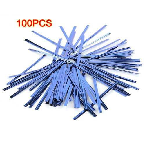 Legami di torsione - TOOGOO(R) 100 Pz Legami di torsione in plastica metallizzata per Lollipop sacchetti di caramelle Bakery, Blu