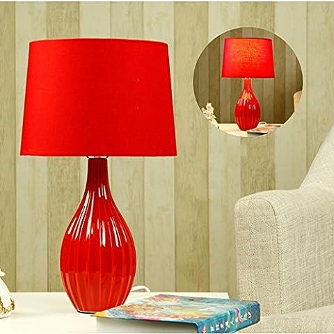 Guo Casarse decoración Lámpara de mesa de cerámica creativa dormitorio de cabecera moderna Lámpara de mesa simple ( Color : Rojo