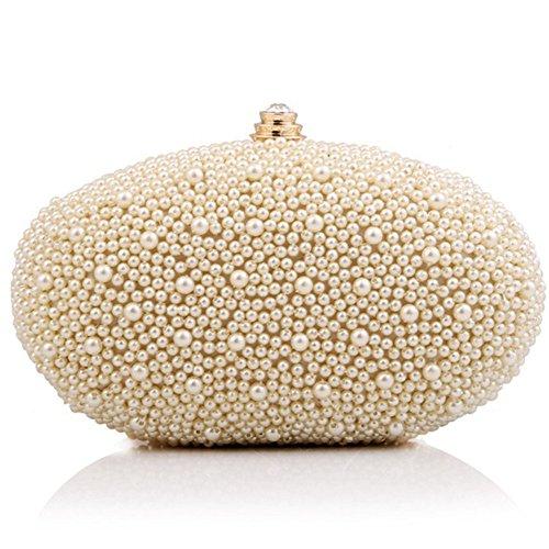 ERGEOB® Damen Clutch Abendtasche Handtasche Handmade Perlen Clutch Diamant Oval Unterarmtasche (Perlen Tasche Handtasche)