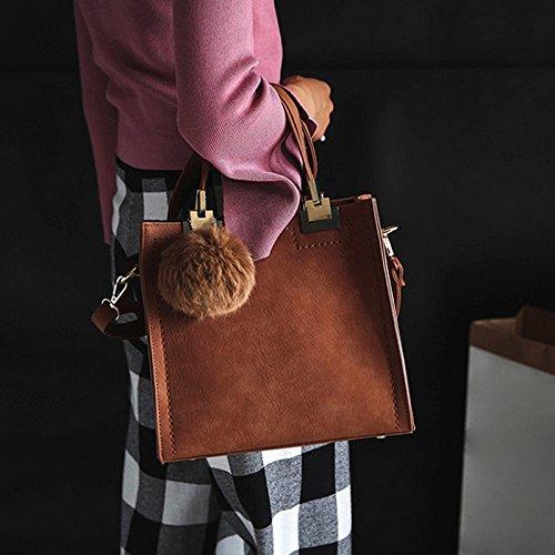 Frauen High Grade Solid Color geprägte Handtasche kurze Tasche mit niedlichen Wolle Ball grau