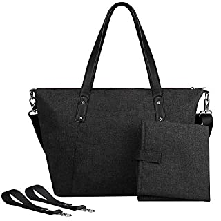 S-ZONE Baby Diaper Large Tote Bag Handbag Anti-Water with Changing Pad and Stroller Straps£¨Black£©