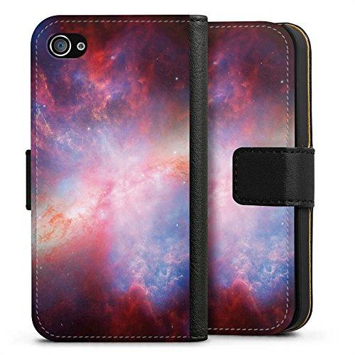 Apple iPhone X Silikon Hülle Case Schutzhülle Galaxy Space Muster Sideflip Tasche schwarz