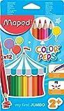 Maped - crayons de couleur COLOR'PEPS Maxi, triangulaire, étui en carton de 12