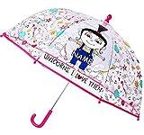 alles-meine.de GmbH Regenschirm -  Minions - Ich einfach unverbesserlich / Agnes & Einhorn  - incl. Name - Kinderschirm transparent - Ø 74 cm - Kinder Stockschirm - Schirm Kind..