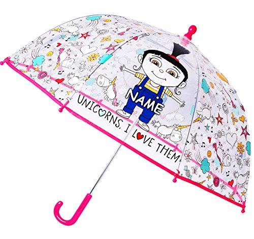 Regenschirm -  Minions - Ich einfach unverbesserlich / Agnes & Einhorn  - incl. Name - Kinderschirm transparent - Ø 74 cm - Kinder Stockschirm - Schirm Kind.. ()