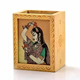 Creative Studio Gemstone Painted Handcrafted Wooden Pen Stand